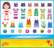 Paper doll with summer set of clothes Royalty Free Stock Images
