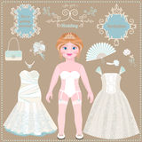 Paper doll. Wedding dresses and accessories. Stock Images
