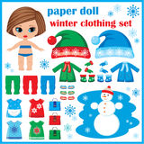 Paper doll with winter clothes set. Royalty Free Stock Images