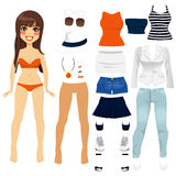 Paper Doll Women Clothing. Beautiful long hair brunette woman paper doll game clothing set collection Stock Images