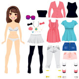 Paper Doll Women Fashion. Sweet long hair brunette paper doll game women fashion clothing set Stock Photography