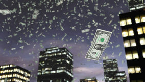 Paper dollar money falls from the sky. Dollars fall from above from the sky. A close up of paper money falling down in the street. A modern 3D rendered fantasy Stock Photography
