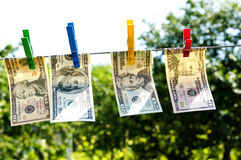 Paper dollars are drying on rope Stock Photography