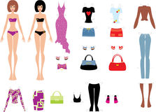 Paper dolls with clothes. Vector, color full, no gradient Royalty Free Stock Photo