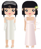 Paper Dolls In Formal Wedding. Two black haired female paper dolls in formal white and pink prom or wedding dresses and gowns, one girl wearing a tiara and Stock Image