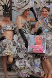 Paper Dolls. Gay men in dresses made from old newspapers during Gay and Lesbian Pride Parade in London 2013 Stock Photography