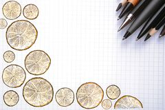 Paper with doodle and supplies Royalty Free Stock Photos