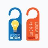 Paper door handle lock hangers concept education room banner. Stock Image