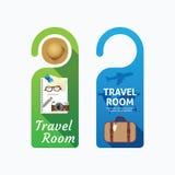 Paper door handle lock hangers concept travel room banner vector Stock Photography