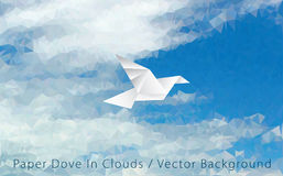 Paper dove in clouds Stock Images