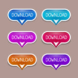 Paper Download Buttons Set Stock Photography