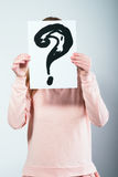 Paper with drawed question marks Stock Images