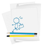 A paper with a drawing of a boy running while holding an envelop. Illustration of a paper with a drawing of a boy running while holding an envelope on a white royalty free illustration