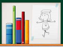 A paper with a drawing of a girl beside the books at the shelf Stock Images
