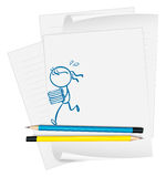 A paper with a drawing of a girl bringing books Royalty Free Stock Images