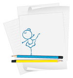 A paper with a drawing of a girl dancing ballet Royalty Free Stock Images