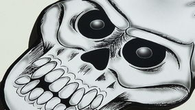 Paper drawing Halloween skeleton decorative stock video