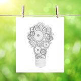 Paper with drawing lamp Stock Photos