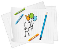 A paper with a drawing of a pencil, crayons and a kid with ballo. Illustration of a paper with a drawing of a pencil, crayons and a kid with balloons on a white Royalty Free Stock Images