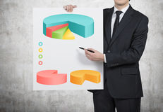 Paper with drawing pie chart. Young businessman holding paper with drawing pie chart Stock Image