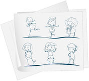 A paper with a drawing of playful kids. Illustration of a paper with a drawing of playful kids on a white background stock illustration