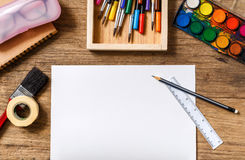 Paper and drawing tools. Stock Photography