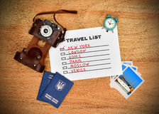 Paper with drawing travel list Stock Image