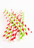 Paper drink straws on white background Royalty Free Stock Images
