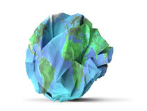 Paper earth recycle and sustainability concept. 3D illustration Royalty Free Stock Image