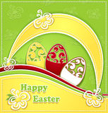 Paper Easter Eggs green yellow Royalty Free Stock Photos