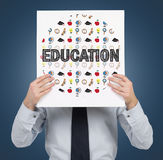 Paper with education icons Stock Images