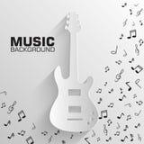 Paper electro guitar vector background concept. Royalty Free Stock Photos