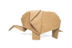 Paper elephant. Origami elephant recycle paper on a white background stock image