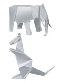 Paper_elephant_kangaroo. Illustration of folded paper models, elephant_kangaroo on white background, Vector illustration Royalty Free Stock Image