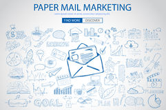 Paper email Marketing with Doodle design style :sending real mails Stock Images