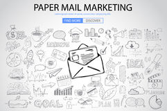 Paper email Marketing with Doodle design style Royalty Free Stock Photography