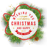 Paper emblem with type design and Christmas tree brunches. Round paper emblem with type design and Christmas tree brunches Royalty Free Stock Image