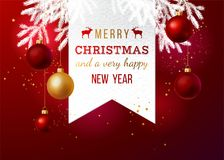 Christmas background with paper emblem stock illustration