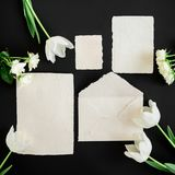 Paper envelop, white cards and flowers on black background. Flat lay, top view. Creative valentines day concept. Paper envelop, white cards and flowers on black Stock Images