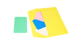 Paper envelope with cards. Paper envelope with color cards Royalty Free Stock Images