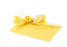 Paper envelope decorated with the bow Royalty Free Stock Image