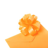 Paper envelope decorated with the bow Royalty Free Stock Photo