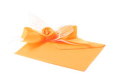 Paper envelope decorated with the bow Royalty Free Stock Images