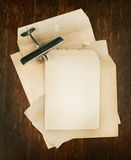 Paper envelope with old model of airplane Royalty Free Stock Photos