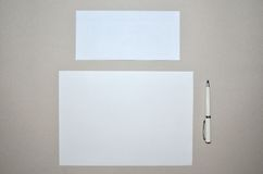 Paper, envelope and pen Royalty Free Stock Image