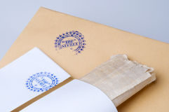 Paper envelope stamped Top Secret with papyrus Stock Image