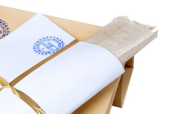 Paper envelope stamped Top Secret with papyrus Stock Photography