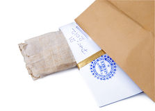 Paper envelope stamped Top Secret with papyrus Royalty Free Stock Image