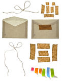 Paper envelope, string and adhesive tapes Royalty Free Stock Photography