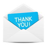 Paper envelope with Thanks. Message vector illustration